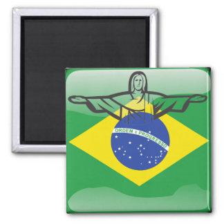 Brasilianische glatte Flagge Quadratischer Magnet