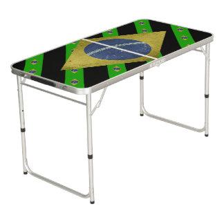 Brasilianische Streifenflagge Beer Pong Tisch