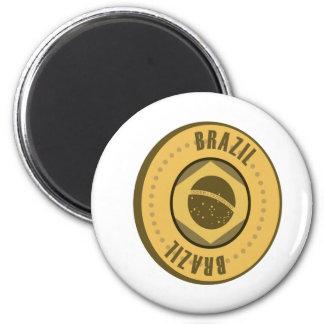 Brasilien-Flaggen-Goldmünze Runder Magnet 5,7 Cm