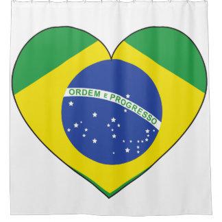 Brasilien-Flaggen-Herz Duschvorhang
