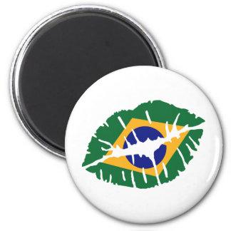 Brasilien-Flaggenkuß Runder Magnet 5,1 Cm