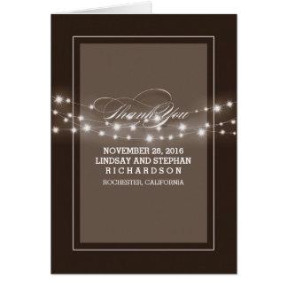 Braune Hochzeit der modernen Schnurlichter danken Mitteilungskarte