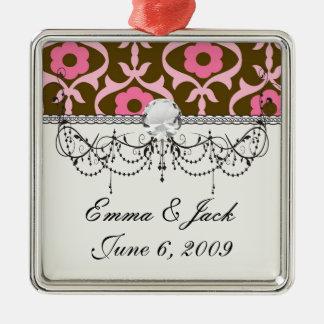 brauner rosa Frühlings-Blumendamast Silbernes Ornament