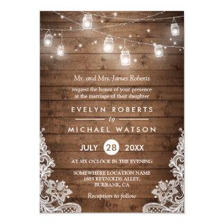 (Braut-Eltern-) Weckglas-Licht-Spitze-Hochzeit 12,7 X 17,8 Cm Einladungskarte