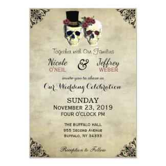 Braut-u. Bräutigam-Schädel Goth rustikale Hochzeit 12,7 X 17,8 Cm Einladungskarte