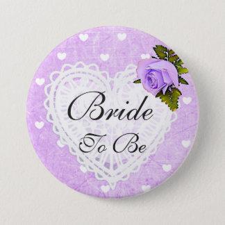 Braut, zum lila Rosen-Herz-weißer Bogen-Knopf zu Runder Button 7,6 Cm