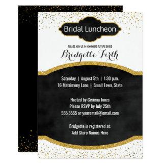 BrautgoldGlitter-Brautparty des mittagessen-| 12,7 X 17,8 Cm Einladungskarte