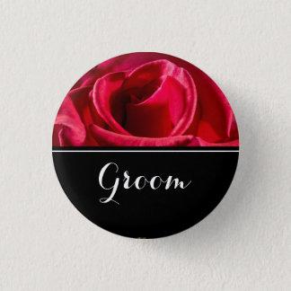 Bräutigam-Hochzeits-Rote Rosen Runder Button 3,2 Cm
