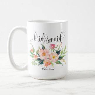 Brautjungfern-personalisierte mit Blumenhochzeit Tasse