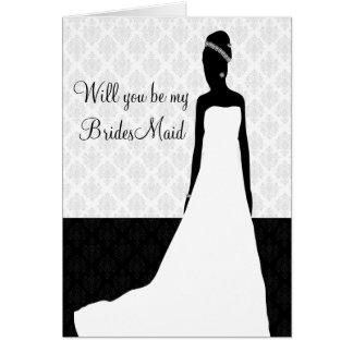 Brautjungfernantrag Mitteilungskarte