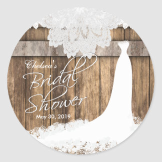 Brautparty im rustikalen Holz u. in der weißen Runder Aufkleber