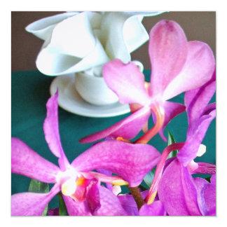 Brautparty-Orchideen-Einladung Quadratische 13,3 Cm Einladungskarte