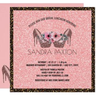 BrautPolterabend des mittagessen-Rosa-Glitter-| Quadratische 13,3 Cm Einladungskarte