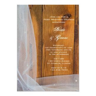 Brautschleier-Scheunen-hölzerner 12,7 X 17,8 Cm Einladungskarte
