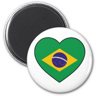 Brazil Heart Soccer Runder Magnet 5,7 Cm