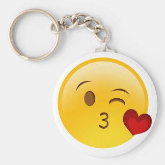 Brennen Sie einen Kuss emoji Aufkleber durch Standard Runder Schlüsselanhänger