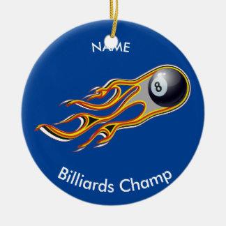 Brennender BILLARD-BALL Komet personalisiert Keramik Ornament