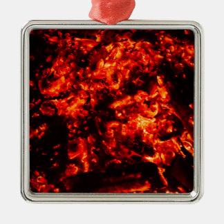 Brennendes Glut-Foto Silbernes Ornament