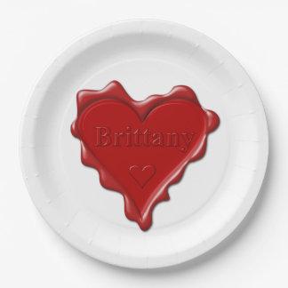 Bretagne. Rotes Herzwachs-Siegel mit Pappteller