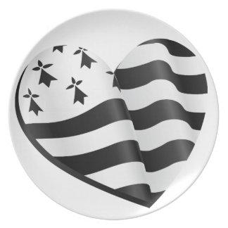 Bretonisches Flaggenherz Melaminteller