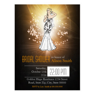 Bridal goldener Shower bride invitation Postkarte