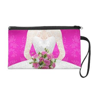 Bridal pink shower wristlet