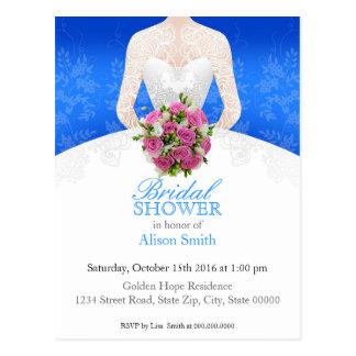 Bridal Shower blue invitation Postkarte