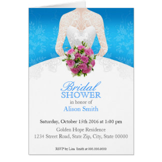 Bridal Shower light blue invitation Karte