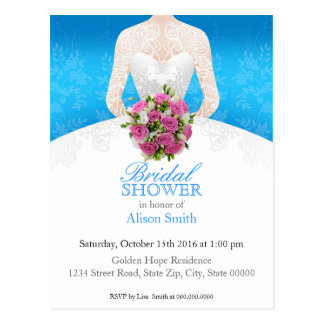 Bridal Shower light blue invitation Postkarte