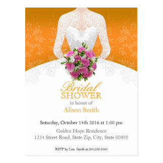 Bridal Shower orange invitation Postkarte