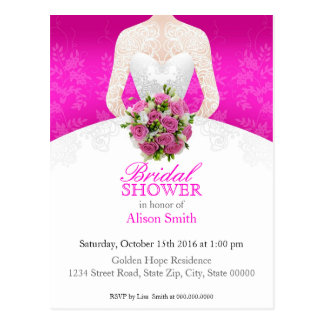 Bridal Shower pink invitation Postkarte