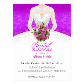 Bridal Shower purple invitation Postkarte