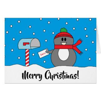 """""""Briefkasten-Pinguin-"""" Weihnachtskarte Karte"""