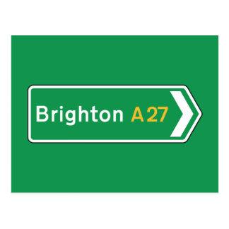 Brighton, BRITISCHES Verkehrsschild Postkarte