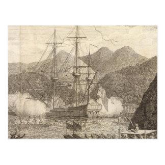 Briten-Schiffe, die bei Tahiti abfeuern Postkarte