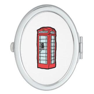 Britische rote Telefonzelle-Cartoon-Illustration Schminkspiegel