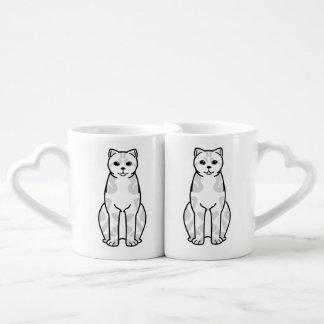 Britischer Shorthair Tabby-Katzen-Cartoon Paartasse