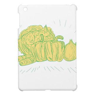 Brocolli Pfeffer-Zwiebel-Zeichnen iPad Mini Hülle
