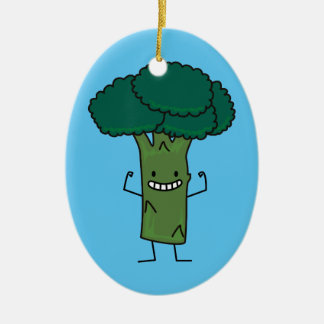 Brokkoli, der glückliches Baumkopf-Grüngemüse Ovales Keramik Ornament