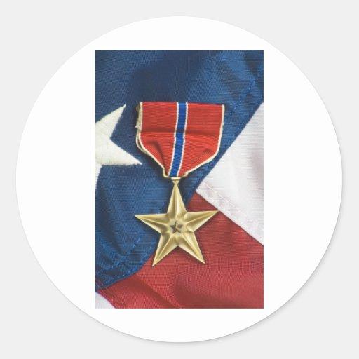 Bronzestern auf amerikanischer Flagge Sticker
