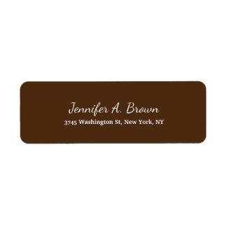 Brown-Farbkreative Handschrifts-Ebene weiblich Rücksendeetiketten