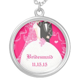 Brown-Haar-Rosa-Hochzeits-Brautjungfern-Halskette Halskette Mit Rundem Anhänger
