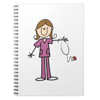 Brown-Haar-weibliche Strichmännchen-Krankenschwest Spiral Notizblock