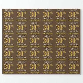 """Brown, Imitat-Gold """"GLÜCKLICHER 30. GEBURTSTAG """" Geschenkpapier"""