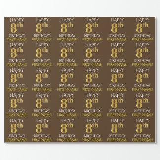 """Brown, Imitat-Gold """"GLÜCKLICHER 8. GEBURTSTAG """" Geschenkpapier"""