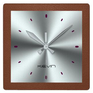 Brown-Imitat-Leder u. metallischer rostfreier Quadratische Wanduhr