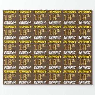 """Brown, Imitat/nachgemachtes Gold, """"18. GEBURTSTAG Geschenkpapier"""