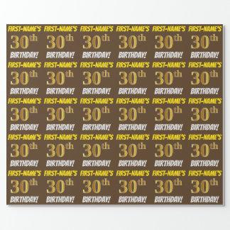 """Brown, Imitat/nachgemachtes Gold, """"30. GEBURTSTAG Geschenkpapier"""