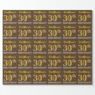 """Brown, nachgemachter Goldblick """"30. GEBURTSTAG """" Geschenkpapier"""