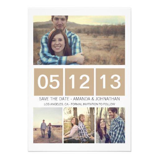 Brown quadrierte Foto einlädt Save the Date Ankündigungskarten